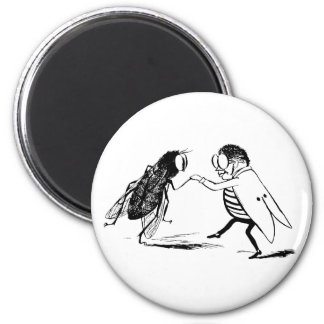 Vintage Insects Dancing; Bluebottle Fly 6 Cm Round Magnet