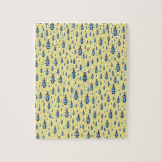 Vintage Insects March of the Blue Spotted Beetles Jigsaw Puzzle