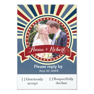 Vintage insert wedding photo red blue template 9 cm x 13 cm invitation card