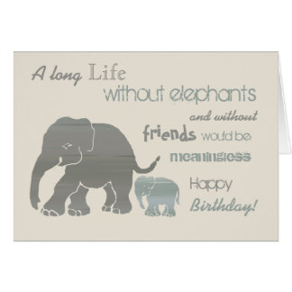 Vintage Inspirational Elephant Typography Birthday Card