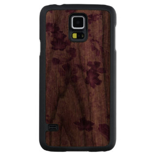 Vintage Inspired Floral Mauve Carved Walnut Galaxy S5 Case