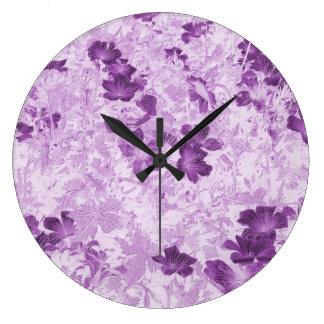 Vintage Inspired Floral Mauve Large Clock