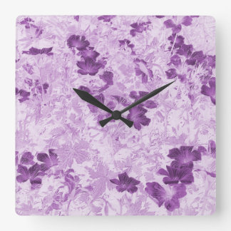 Vintage Inspired Floral Mauve Square Wall Clock