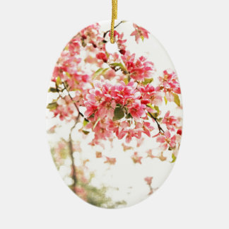 Vintage Inspired Pink and Green Apple Blossoms Christmas Ornament