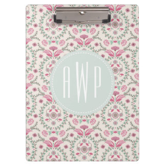 Vintage Inspired Pink and Green Pattern Monogram Clipboards