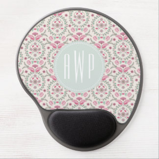 Vintage Inspired Pink and Green Pattern Monogram Gel Mouse Pad