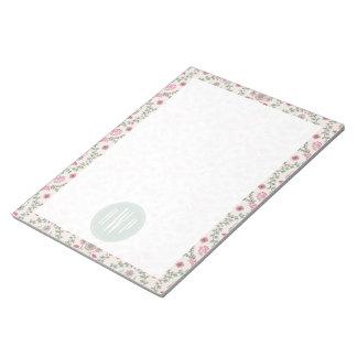 Vintage Inspired Pink and Green Pattern Monogram Memo Pads