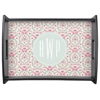 Vintage Inspired Pink and Green Pattern Monogram Serving Tray