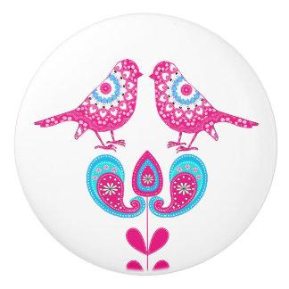 Vintage Inspired Pretty Pink Blue Paisley Birds Ceramic Knob