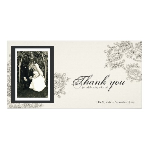 Vintage Inspired Thank You Card Customized Photo Card