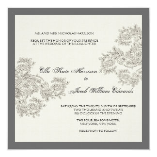 Vintage Inspired Wedding Invite // Charcoal