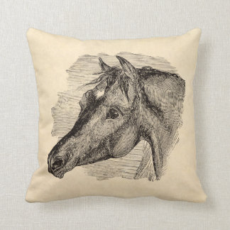 Vintage Intelligent Horse on Parchment Template Throw Pillow