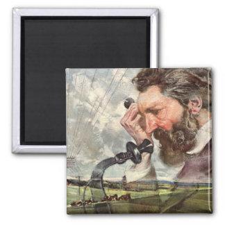 Vintage Inventor, Alexander Graham Bell Telephone Square Magnet