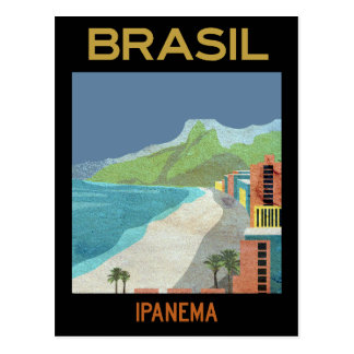 Vintage Ipanema Brazil Beach Travel Postcard