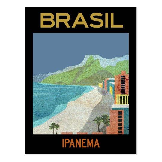 Vintage Ipanema Brazil Beach Travel Postcard