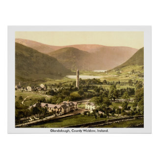 Vintage Ireland, 19th century Glendalough Wicklow Poster
