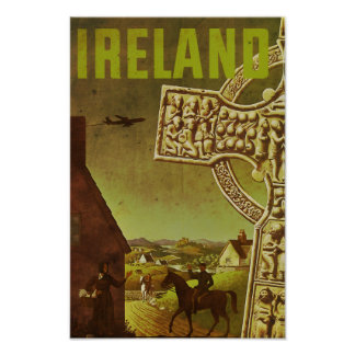 Vintage Ireland Air Travel Advertisement Poster