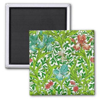 Vintage Iris Bird Floral Pattern William Morris Square Magnet