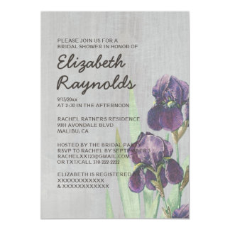Vintage Iris Bridal Shower Invitations
