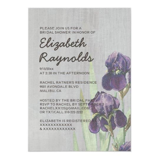 Vintage Iris Bridal Shower Invitations