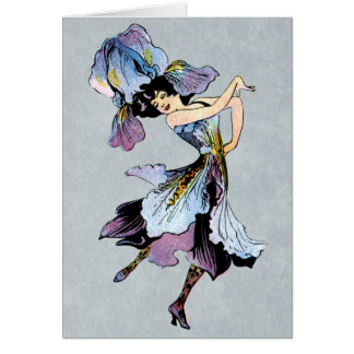 vintage iris flower fairy card