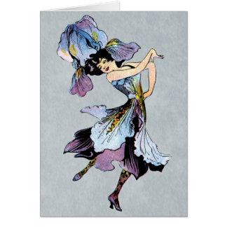vintage iris flower fairy greeting card