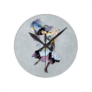 vintage iris flower fairy round clock