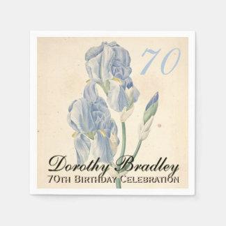 Vintage Irises 70th Birthday Party Paper Napkins
