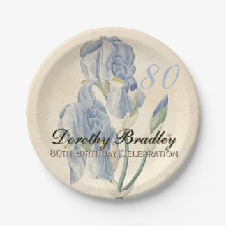 Vintage Irises 80th Birthday Party Paper Plates 7 Inch Paper Plate