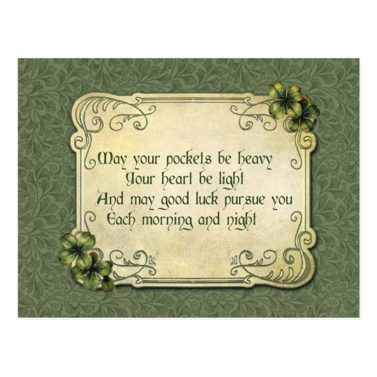 Vintage Irish Blessing and Shamrocks Postcard