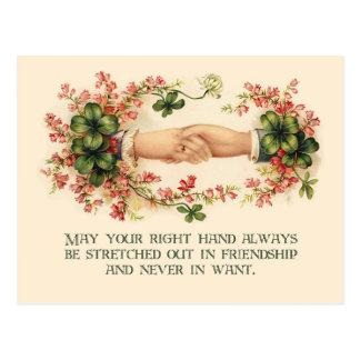 Vintage Irish Blessing, Hands and Shamrocks Postcard