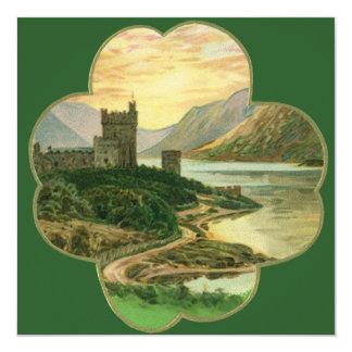 "Vintage Irish Castle Inside a Lucky Gold Shamrock 5.25"" Square Invitation Card"