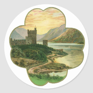 Vintage Irish Castle Inside a Lucky Gold Shamrock Classic Round Sticker