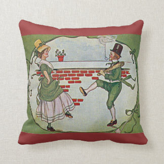 vintage Irish dancers and celtic cross Cushion