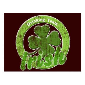 Vintage Irish Drinking Team Postcard