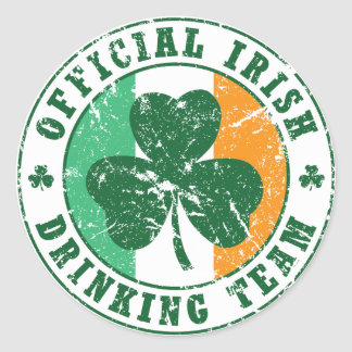 'Vintage' Irish Drinking Team Round Sticker