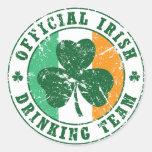 'Vintage' Irish Drinking Team Round Stickers