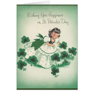 Vintage Irish Girl and Shamrocks St. Patrick's Day Card