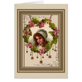 Vintage Irish Girl Card