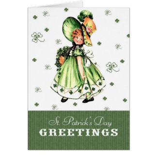 Vintage Irish Girl St. Patrick's Day Greeting Card