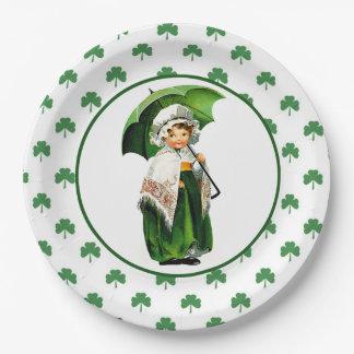 Vintage Irish Girl St.Patrick's Day Paper Plates