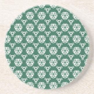 Vintage Irish Green Baroque Wallpaper Drink Coaster