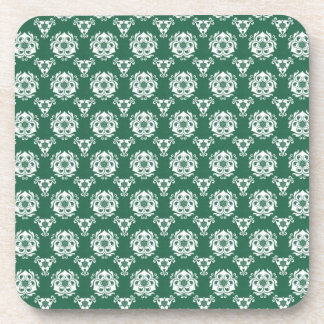 Vintage Irish Green Baroque Wallpaper Drink Coasters