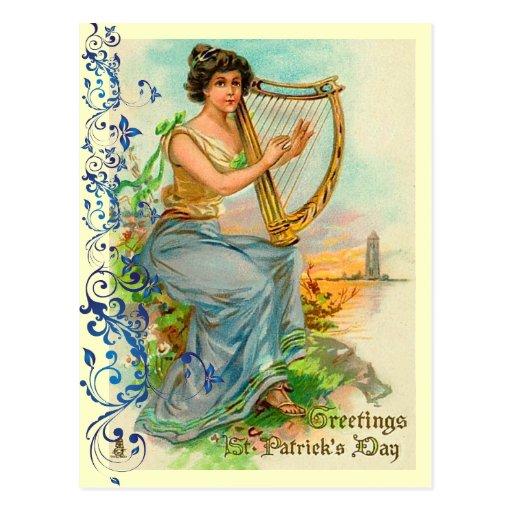 Vintage Irish Harp Postcards