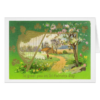 Vintage Irish Harp St Patrick's Day Card