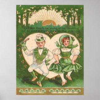 Vintage Irish Hearts St Patrick's Day Card Poster