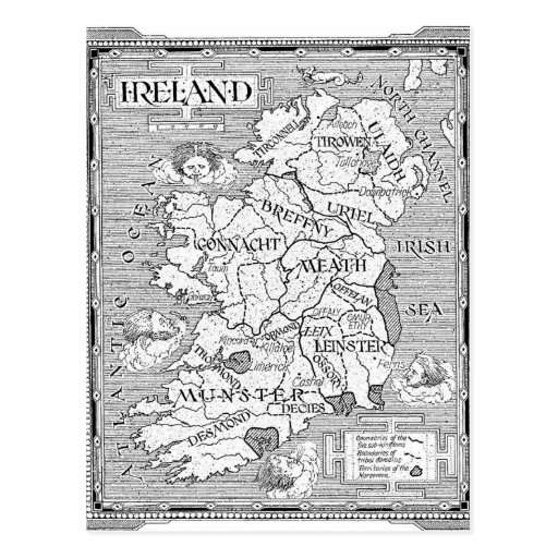 Vintage Irish Map Postcard