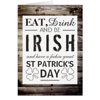 Vintage Irish Wood St Patrick's Day Card