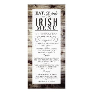 Vintage Irish Wood St Patrick's Day Menu Full Color Rack Card