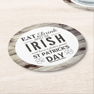 Vintage Irish Wood St Patrick's Day Round Paper Coaster
